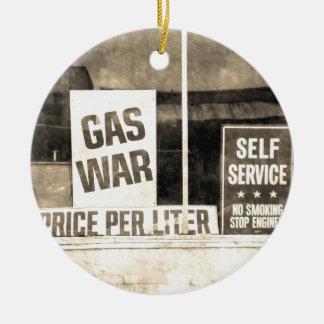 Vintage Gas War Sign Ornaments