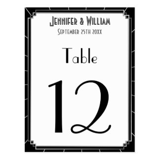 Vintage Gatsby Style Art Deco Wedding Table Number Postcard
