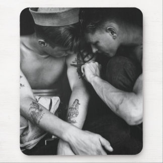 Vintage gay interest hunk sailors with tattoos mouse mat