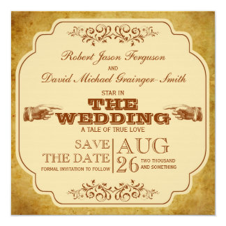 Vintage Gay Wedding Theatre Save The Date Card