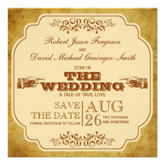 Vintage Gay Wedding Theatre Save The Date Invitations