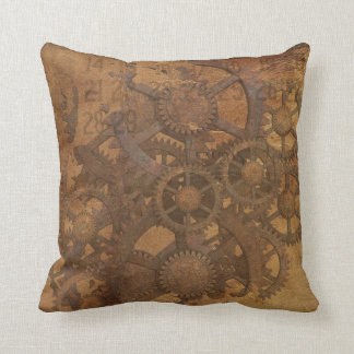 Vintage Gears Polyester Throw Pillow
