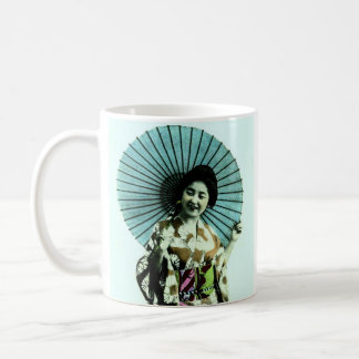 Vintage Geisha and Her Parasol Old Japan Basic White Mug