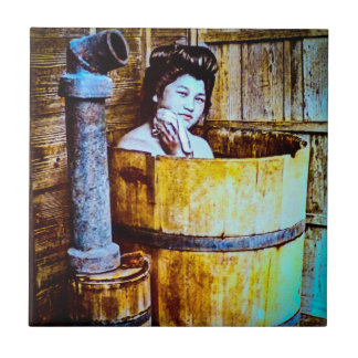 Vintage Geisha Bathing in Wooden Tub in Old Japan Tile