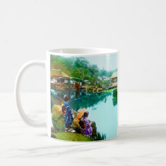 Vintage Geisha By Pond in Hikone Park Japanese Basic White Mug