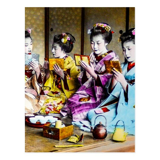 Vintage Geisha Checking Their Makeup at Tea Japan Postcard
