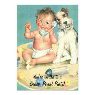 Vintage Gender Reveal Baby Shower Invitation