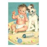Vintage Gender Reveal Baby Shower Party Puppy Custom Invitation