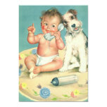 Vintage Gender Reveal Baby Shower Party Puppy 13 Cm X 18 Cm Invitation Card