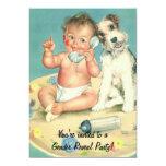 Vintage Gender Reveal Baby Shower Puppy Dog Personalised Invitation
