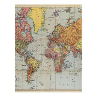 Vintage General Map of the World Postcard