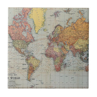 Vintage General Map of the World Small Square Tile