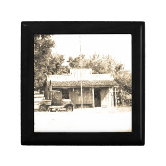 Vintage General Store with Antique Auto Small Square Gift Box
