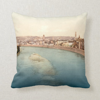 Vintage General View of Verona, Veneto, Italy Cushion