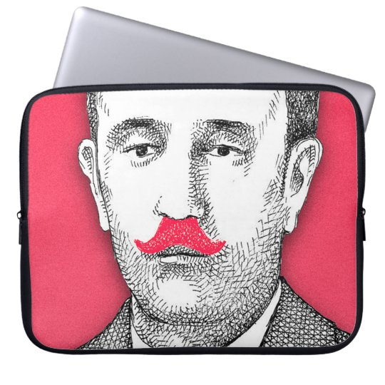 Vintage  Gentleman With Funny Pink Moustache Laptop Sleeve