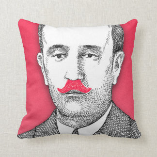 Vintage  Gentleman With Funny Pink Mustache Cushion