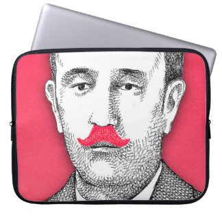 Vintage  Gentleman With Funny Pink Mustache Laptop Sleeve