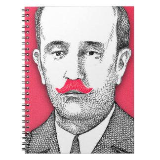 Vintage  Gentleman With Funny Pink Mustache Spiral Notebook