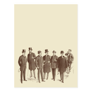 Vintage Gentlemen 1800s Men's Fashion Brown Beige Postcard