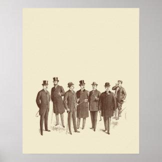 Vintage Gentlemen 1800s Men's Fashion Brown Beige Poster