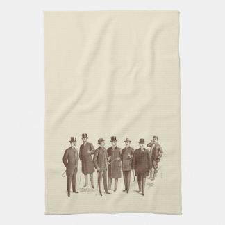 Vintage Gentlemen 1800s Men's Fashion Brown Beige Tea Towel