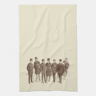 Vintage Gentlemen 1800s Men's Fashion Brown Beige Tea Towels
