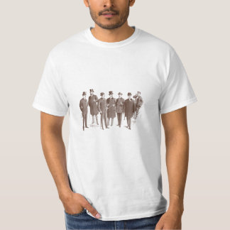 Vintage Gentlemen 1800s Men's Fashion Brown White T-Shirt