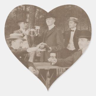 Vintage Gentlemen Beer Toasting Men Stickers Heart