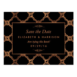 Vintage Geometric Art Deco Gatsby Save The Date Postcard