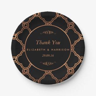 Vintage Geometric Art Deco Gatsby Wedding 7 Inch Paper Plate