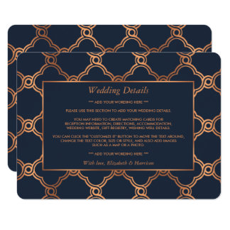 Vintage Geometric Art Deco Gatsby Wedding Detail Card