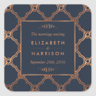Vintage Geometric Art Deco Gatsby Wedding Favour Square Sticker