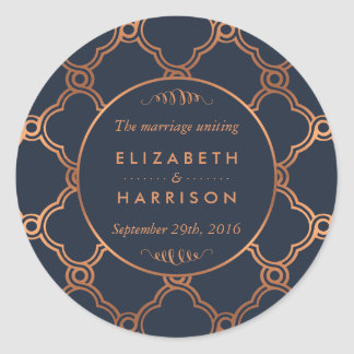 Vintage Geometric Art Deco Gatsby Wedding Thanks Classic Round Sticker