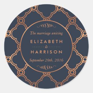 Vintage Geometric Art Deco Gatsby Wedding Thanks Classic Round Sticker