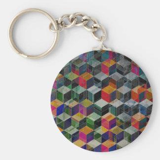 Vintage Geometric Cubes Key Chains
