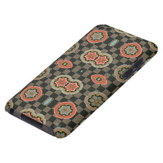 Vintage Geometric Floral on Checks Barely There iPod Cases