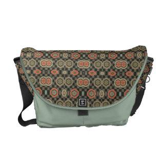 Vintage Geometric Floral on Checks Commuter Bag
