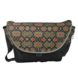 Vintage Geometric Floral on Checks Courier Bags