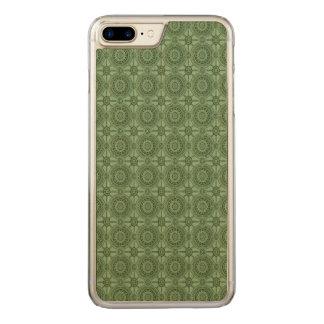 Vintage Geometric Floral Pattern Sage Green Carved iPhone 8 Plus/7 Plus Case