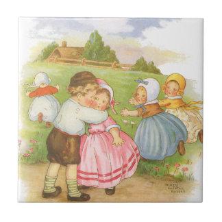 Vintage Georgie Porgie Mother Goose Nursery Rhyme Small Square Tile