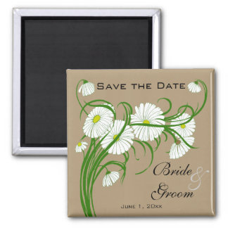 Vintage Gerber Daisy flowers Wedding Save the Date Square Magnet