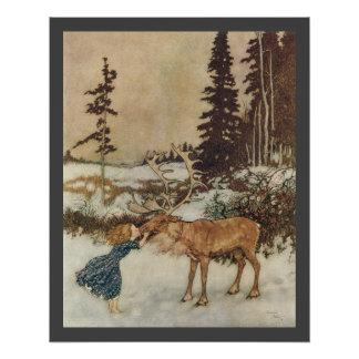 Vintage Gerda and the Reindeer by Edmund Dulac