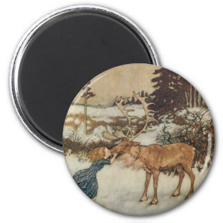 Vintage Gerda and the Reindeer by Edmund Dulac 6 Cm Round Magnet