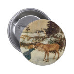 Vintage Gerda and the Reindeer by Edmund Dulac Buttons