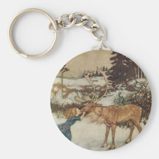 Vintage Gerda and the Reindeer by Edmund Dulac Basic Round Button Key Ring