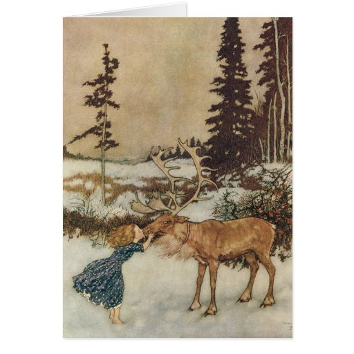Vintage Gerda and the Reindeer by Edmund Dulac Cards