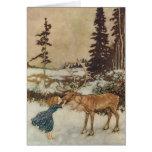 Vintage Gerda and the Reindeer by Edmund Dulac Greeting Card