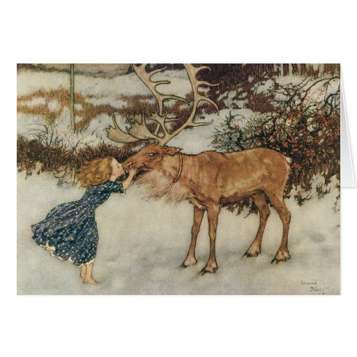 Vintage Gerda and the Reindeer by Edmund Dulac Greeting Cards