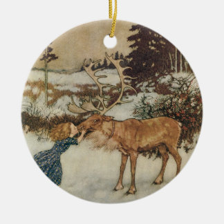 Vintage Gerda and the Reindeer by Edmund Dulac Christmas Ornament