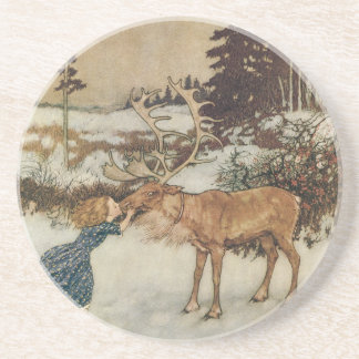 Vintage Gerda and the Reindeer by Edmund Dulac Coaster